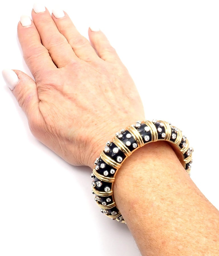 Tiffany & Co. Jean Schlumberger Black Enamel Diamond Gold Bracelet For Sale 6