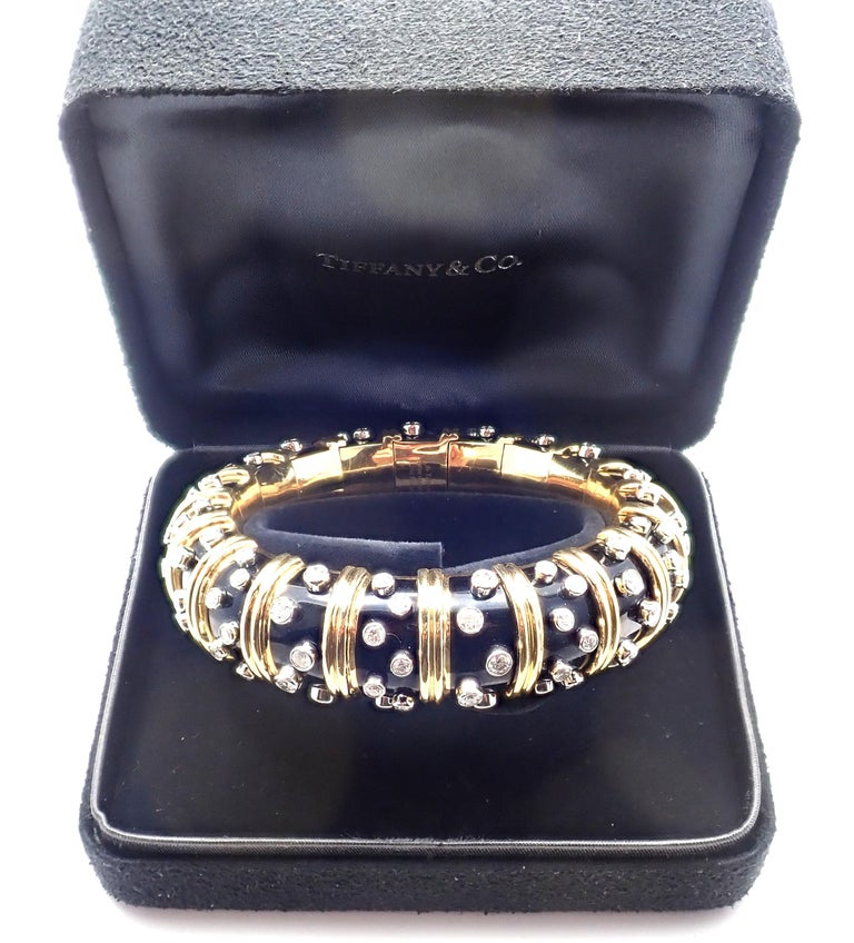 Tiffany & Co. Jean Schlumberger Black Enamel Diamond Gold Bracelet For Sale 7