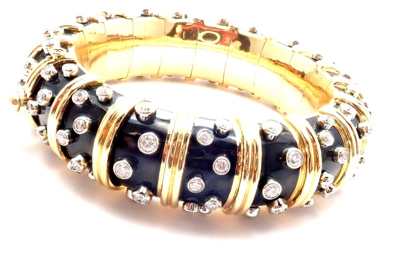 Tiffany & Co. Jean Schlumberger Black Enamel Diamond Gold Bracelet In Excellent Condition For Sale In Holland, PA