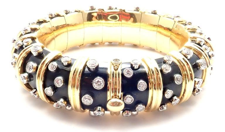 Women's or Men's Tiffany & Co. Jean Schlumberger Black Enamel Diamond Gold Bracelet For Sale
