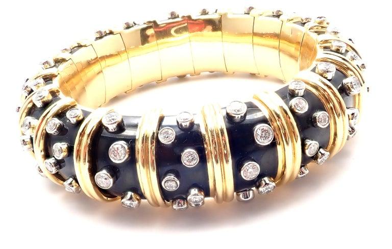 Tiffany & Co. Jean Schlumberger Black Enamel Diamond Gold Bracelet For Sale 1