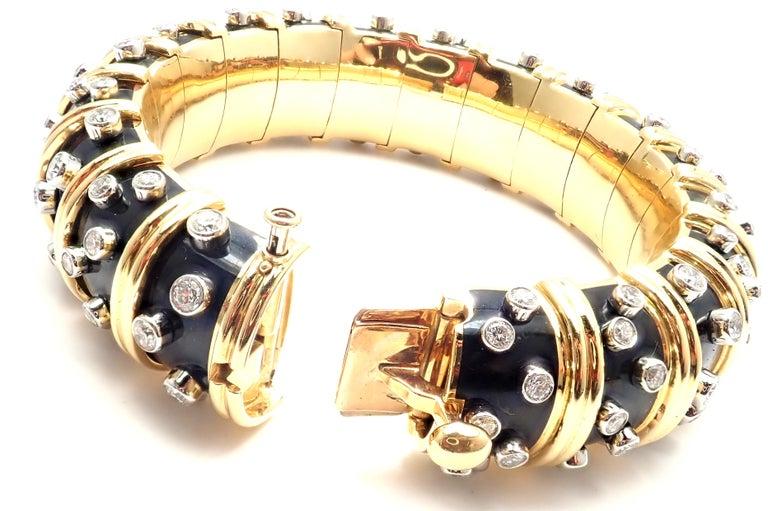 Tiffany & Co. Jean Schlumberger Black Enamel Diamond Gold Bracelet For Sale 3
