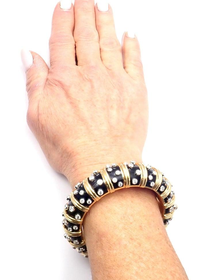 Tiffany & Co. Jean Schlumberger Black Enamel Diamond Gold Bracelet For Sale 5