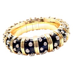 Tiffany & Co. Jean Schlumberger Black Enamel Diamond Gold Bracelet