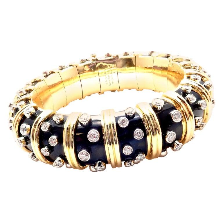 Tiffany & Co. Jean Schlumberger Black Enamel Diamond Gold Bracelet For Sale