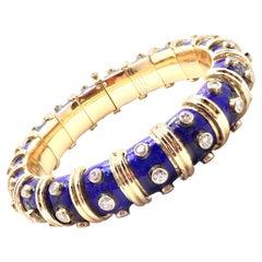 Tiffany & Co. Jean Schlumberger Blue Enamel Diamond Gold Bracelet