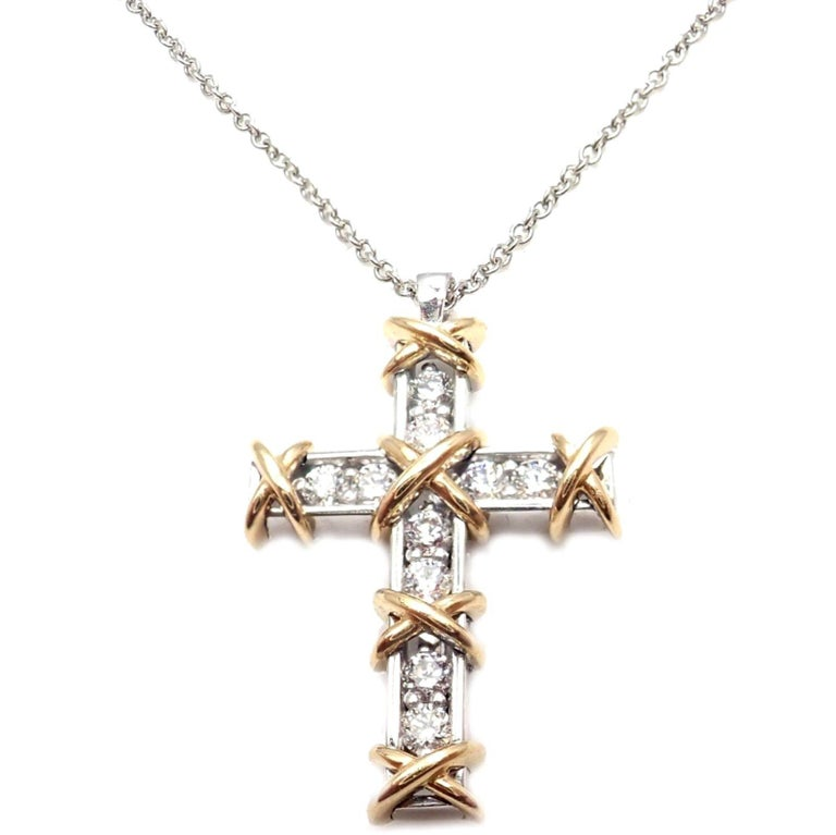 2476859e9 Platinum & 18k Yellow Gold Diamond Cross Pendant Necklace by Jean  Schlumberger for Tiffany & Co