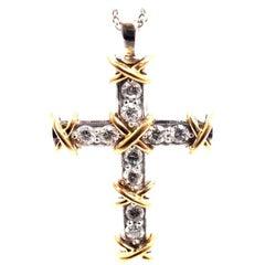 Tiffany & Co. Jean Schlumberger Diamond Cross Platinum Gold Pendant Necklace