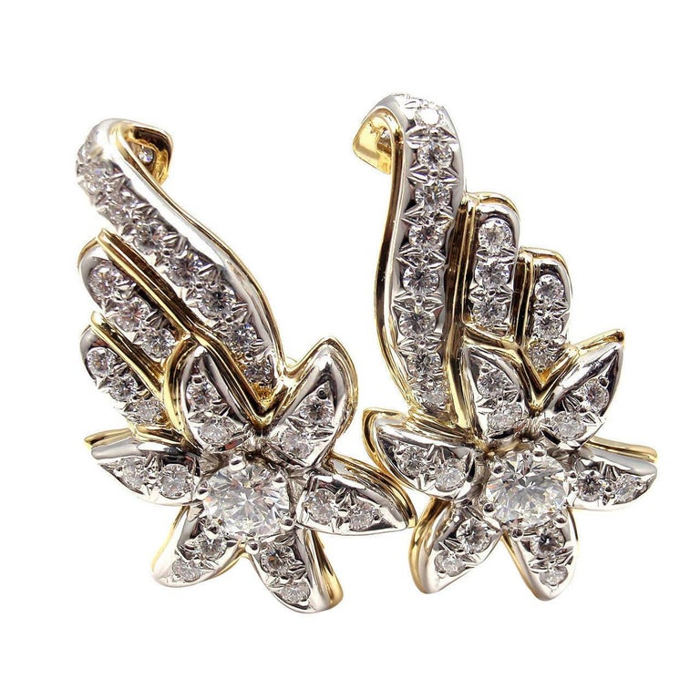 Platinum & 18k Yellow Gold Flame Earrings by Jean Schlumberger for Tiffany & Co.  With 62 round brilliant cut diamonds  VS1 clarity, E color total weight  approximately 3.60ct Details:  Weight: 21.8 grams Dimensions: 35mm x 20mm Stamped Hallmarks: