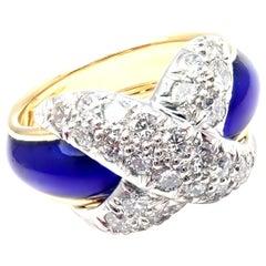 Tiffany & Co. Jean Schlumberger Diamond X Blue Enamel Gold Platinum Band Ring