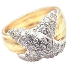 Tiffany & Co. Jean Schlumberger Diamond X Yellow Gold and Platinum Band Ring