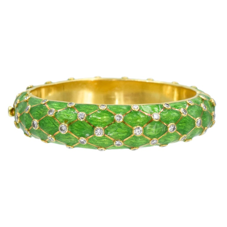Artist Tiffany & Co. Jean Schlumberger Gold, Green Enamel and Diamond Bangle For Sale