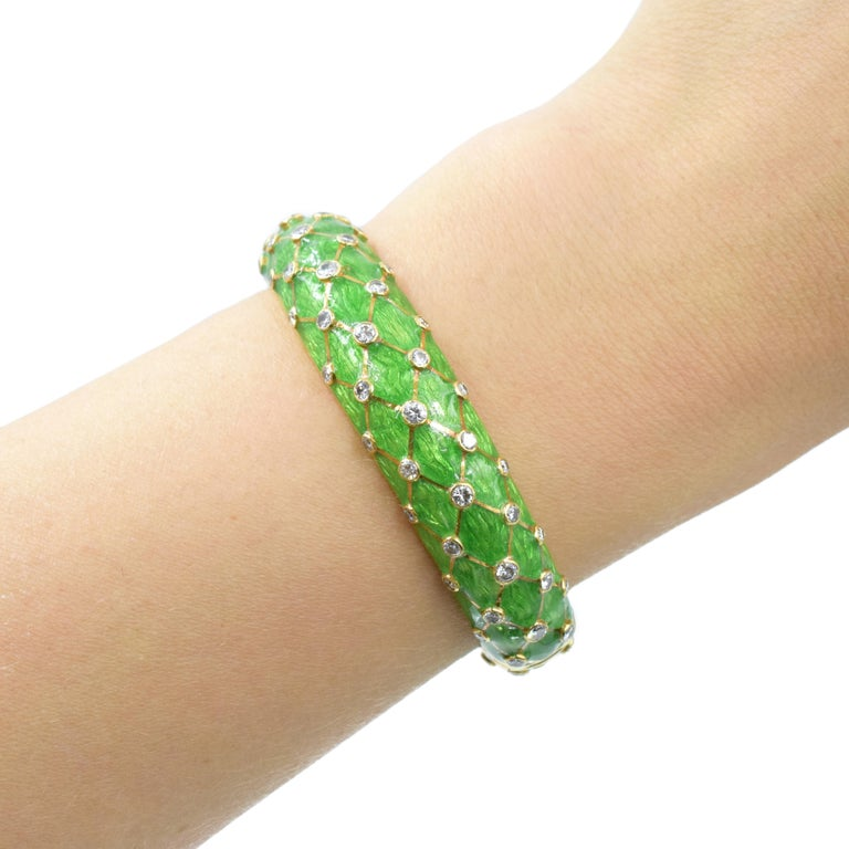 Round Cut Tiffany & Co. Jean Schlumberger Gold, Green Enamel and Diamond Bangle For Sale