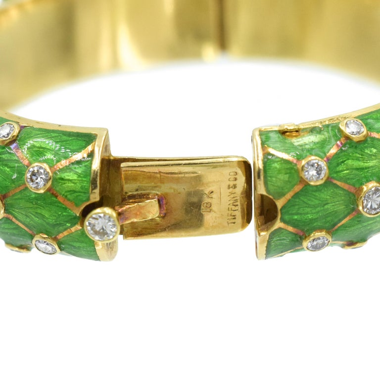 Tiffany & Co. Jean Schlumberger Gold, Green Enamel and Diamond Bangle In Excellent Condition For Sale In New York, NY