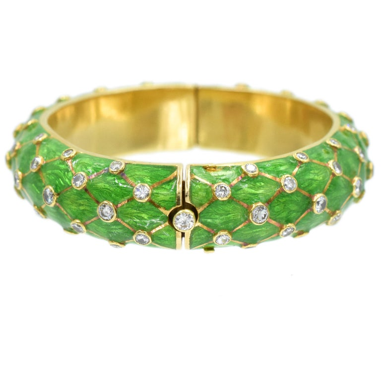 Women's Tiffany & Co. Jean Schlumberger Gold, Green Enamel and Diamond Bangle For Sale