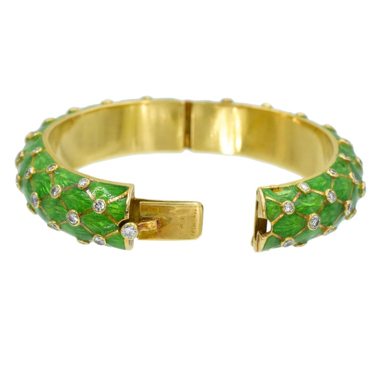 Tiffany & Co. Jean Schlumberger Gold, Green Enamel and Diamond Bangle For Sale 1