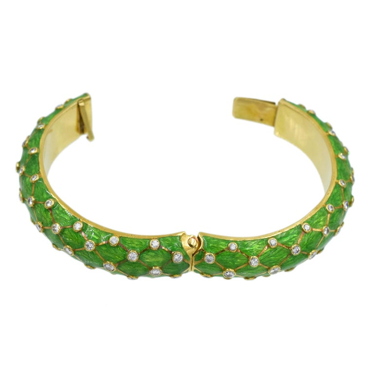Tiffany & Co. Jean Schlumberger Gold, Green Enamel and Diamond Bangle For Sale 2