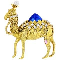 Tiffany & Co. Jean Schlumberger Gold, Diamond, Ruby, Pearl, Enamel Camel Brooch