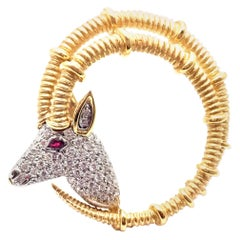 Tiffany & Co. Jean Schlumberger Ibex Diamond Ruby Gold Platinum Pin Brooch