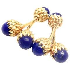 Tiffany & Co. Jean Schlumberger Lapis Lazuli Double Acorn Yellow Gold Cufflinks