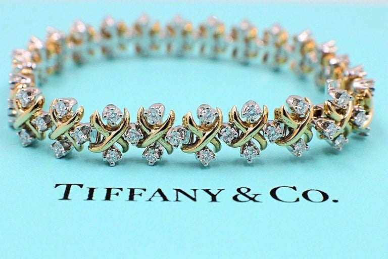 Tiffany & Co Jean Schlumberger Lynn Diamond Bracelet 2.77 TCW 18kt YG Platinum For Sale 5