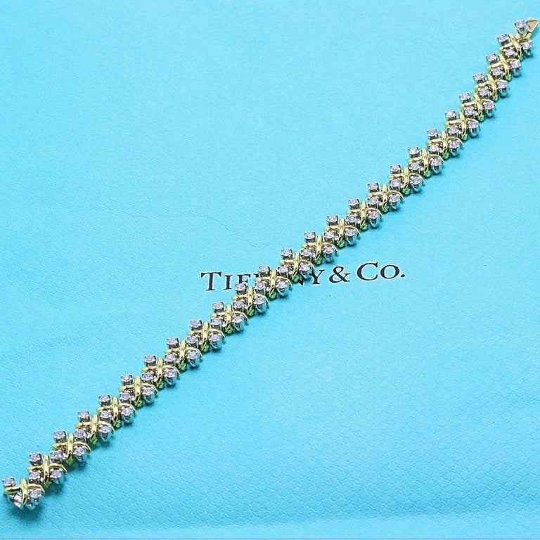 Tiffany & Co Jean Schlumberger Lynn Diamond Bracelet 2.77 TCW 18kt YG Platinum For Sale 6