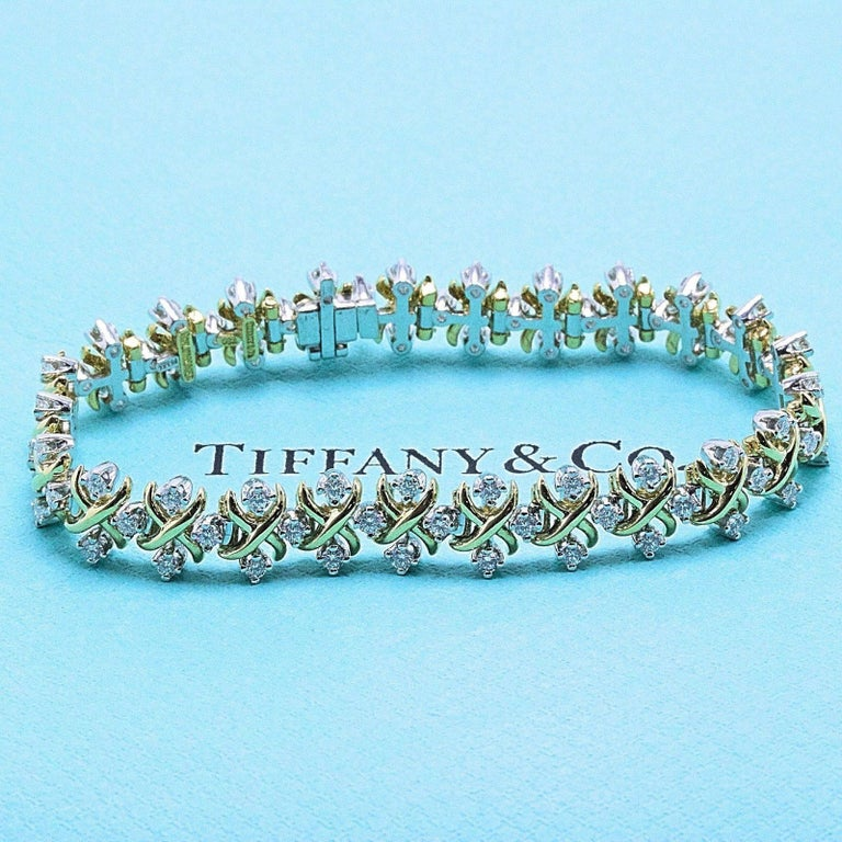 Round Cut Tiffany & Co Jean Schlumberger Lynn Diamond Bracelet 2.77 TCW 18kt YG Platinum For Sale
