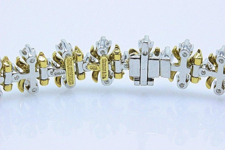 Women's Tiffany & Co Jean Schlumberger Lynn Diamond Bracelet 2.77 TCW 18kt YG Platinum For Sale
