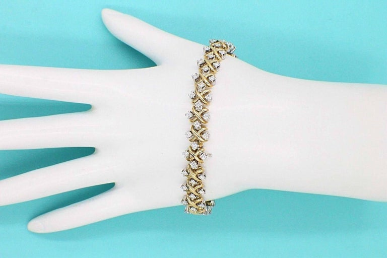 Tiffany & Co Jean Schlumberger Lynn Diamond Bracelet 2.77 TCW 18kt YG Platinum For Sale 1