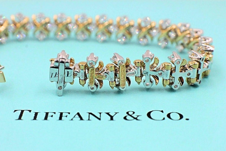 Tiffany & Co Jean Schlumberger Lynn Diamond Bracelet 2.77 TCW 18kt YG Platinum For Sale 4