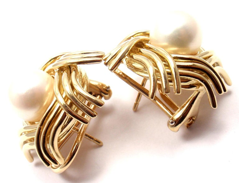 Tiffany & Co. Jean Schlumberger Pearl Yellow Gold Earrings For Sale 7