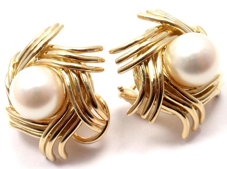 Tiffany & Co. Jean Schlumberger Pearl Yellow Gold Earrings In New Condition For Sale In Holland, PA