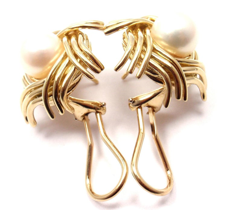 Tiffany & Co. Jean Schlumberger Pearl Yellow Gold Earrings For Sale 4