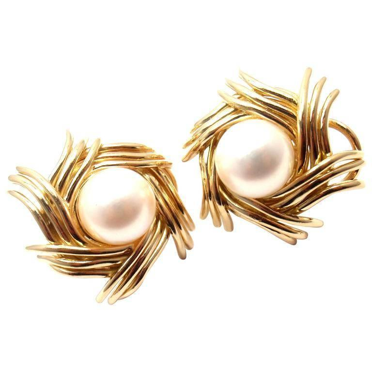 Tiffany & Co. Jean Schlumberger Pearl Yellow Gold Earrings For Sale