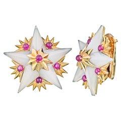 Tiffany & Co. Jean Schlumberger Star Ruby Clip-On Earrings