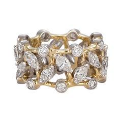 Tiffany & Co. Jean Schlumberger Vigne Ring 18 Karat Gold Platinum and Diamonds
