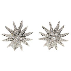 Tiffany & Co. Lace Collection Sunburst Pave Diamond Earrings in Platinum G / VS
