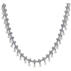 Tiffany & Co. Lace Diamond Pearl Drop Platinum Collar Necklace