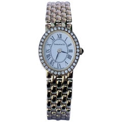 Tiffany & Co Ladies 14 Karat Yellow Gold Wristwatch with Diamond Bezel