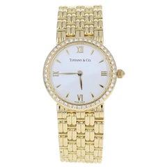 Tiffany & Co. Ladies Diamond Watch, 18 Karat Yellow Gold Quartz 2 Year Warranty