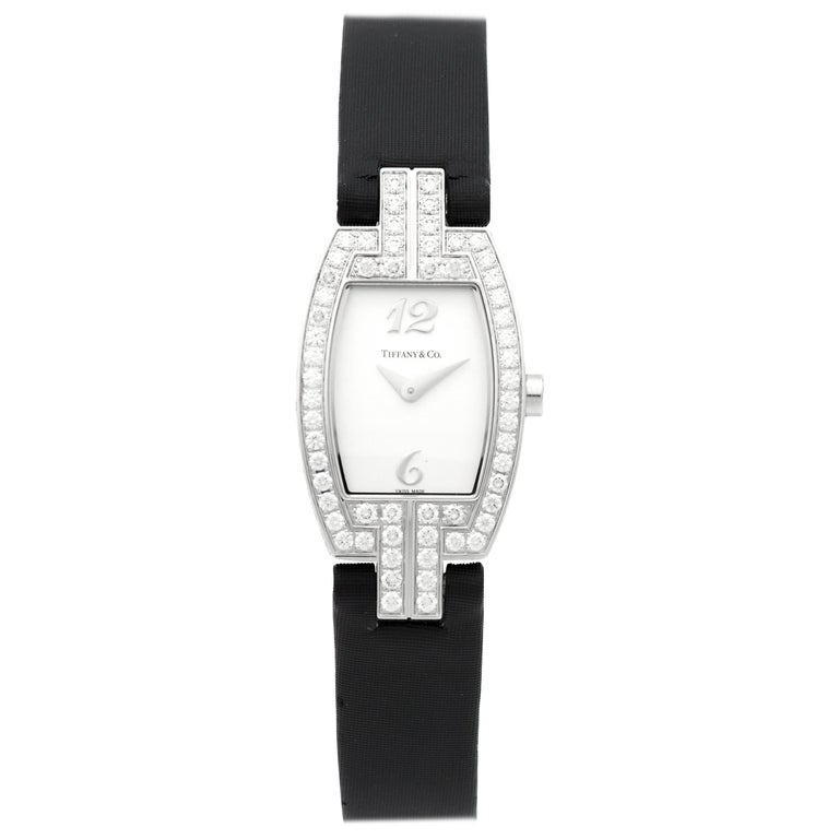 Tiffany & Co. Ladies Gold Diamond Pave Tonneau Quartz Wristwatch For Sale