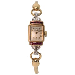 Tiffany & Co. Ladies Ruby & Diamond 14k Yellow Gold Watch Bracelet