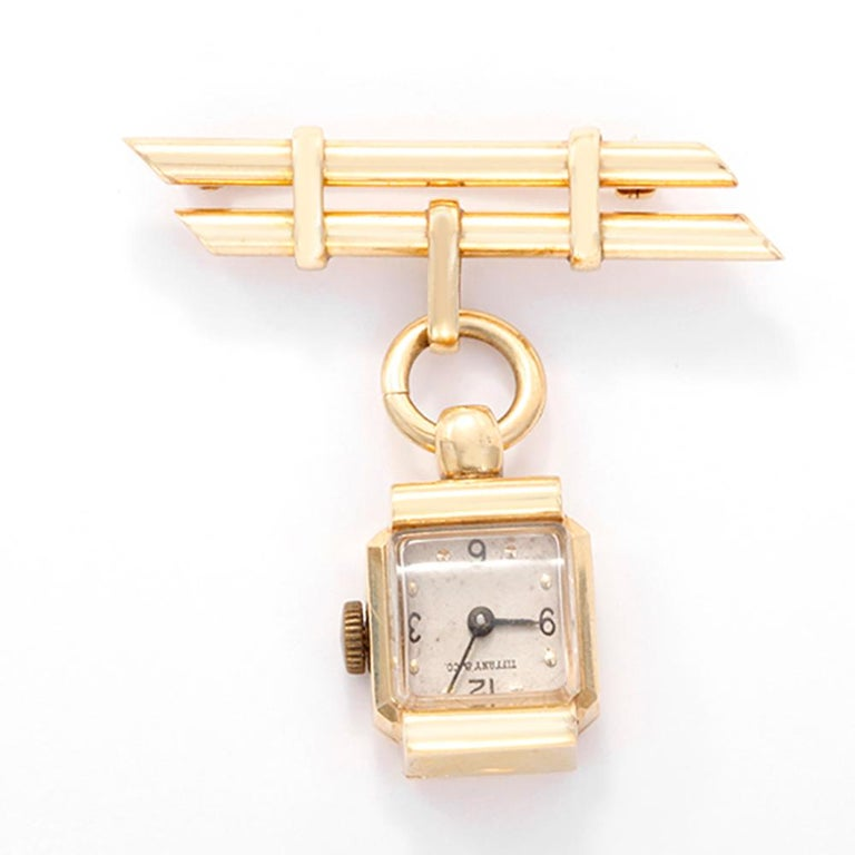 Tiffany & Co. Ladies Yellow Gold Brooch Watch, circa 1950s In Good Condition For Sale In Dallas, TX