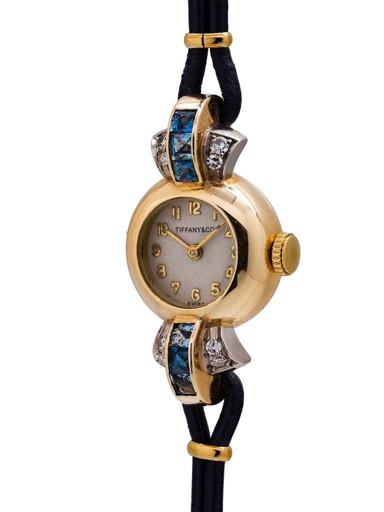 Retro Tiffany & Co. Lady's 14 Karat Yellow Gold Sapphire and Diamond Watch circa 1940s For Sale