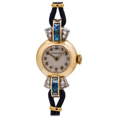 Tiffany & Co. Lady's 14 Karat Yellow Gold Sapphire and Diamond Watch circa 1940s