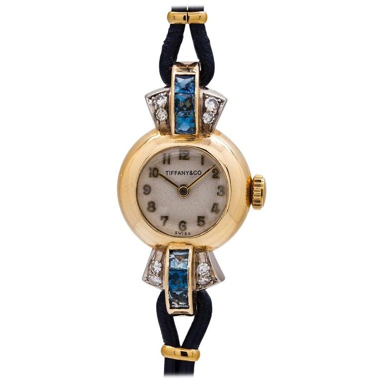 Tiffany & Co. Lady's 14 Karat Yellow Gold Sapphire and Diamond Watch circa 1940s For Sale