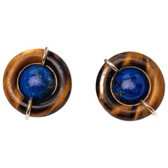 Tiffany & Co. Lapis and Tiger's Eye Clip-On Earrings