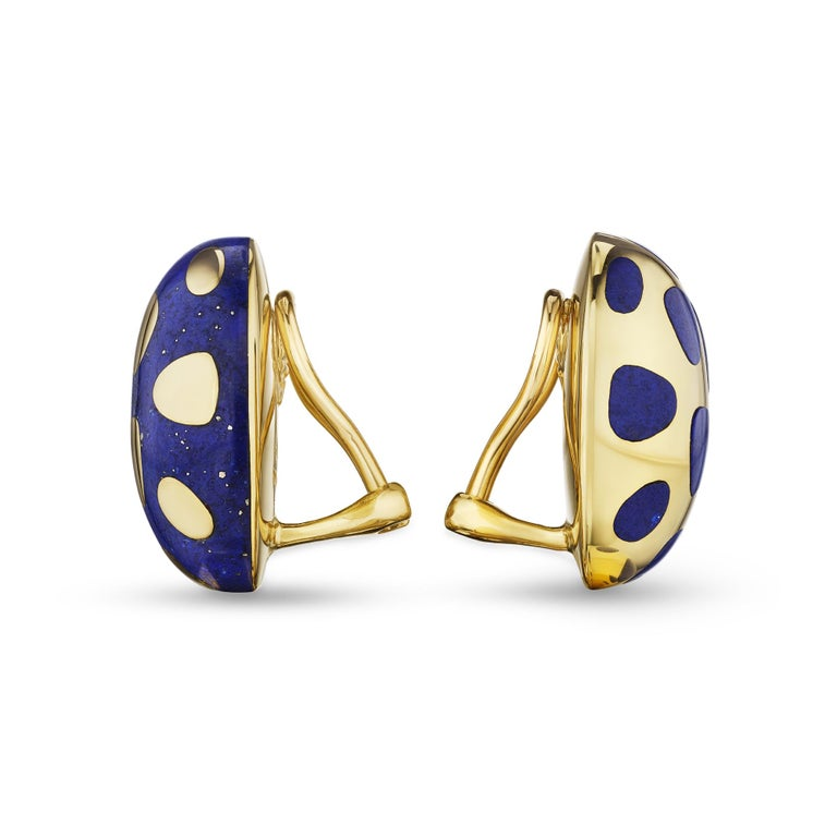 Contemporary Tiffany & Co. Lapis Gold Vintage Earrings For Sale