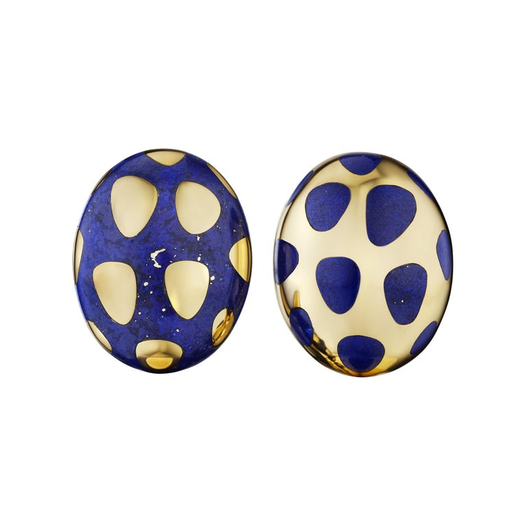 Tiffany & Co. Lapis Gold Vintage Earrings For Sale