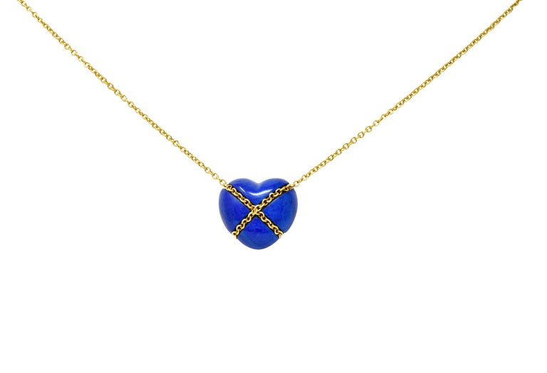 Tiffany & Co. Lapis Lazuli 18 Karat Gold Cross My Heart Necklace For Sale 3